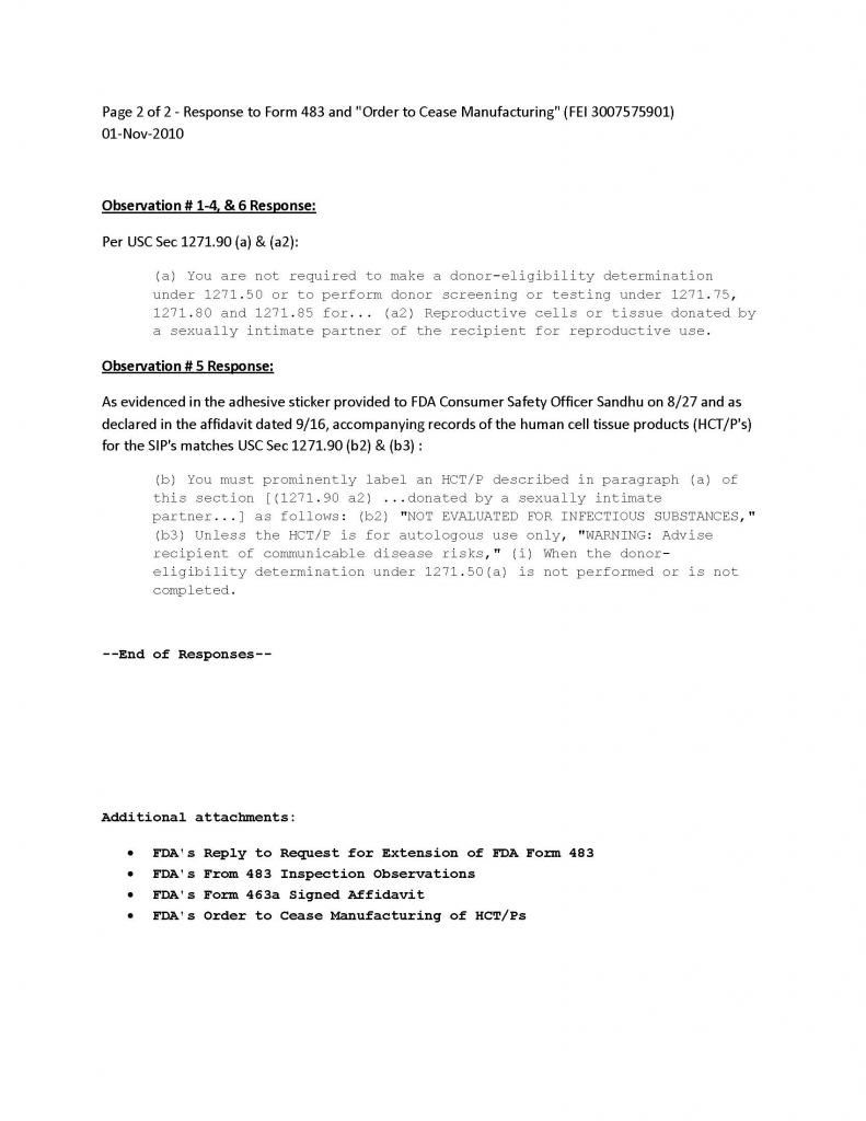 Reply to FDA Inspection and Cease Order - 01-Nov-2010 - Page 2 of 2