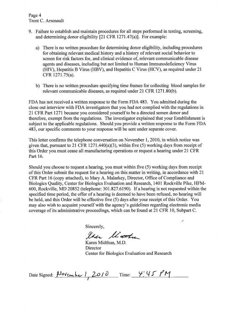 FDA Order to Cease Manufacturing - 01-Nov-2010 - Page 4 of 5