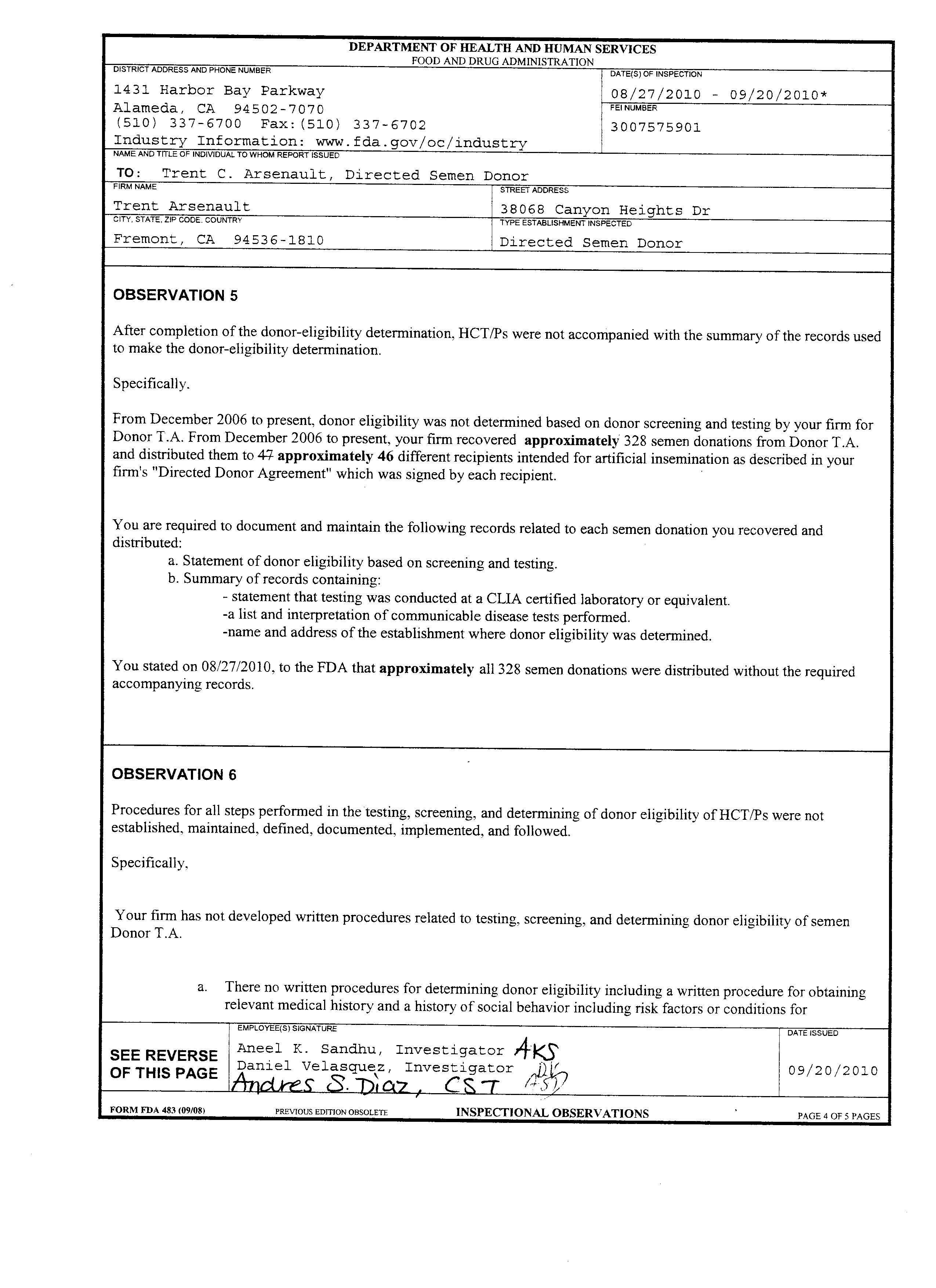 Form FDA 483 - Inspection Observations - 20-Sep-2010 - Page 4 of 5