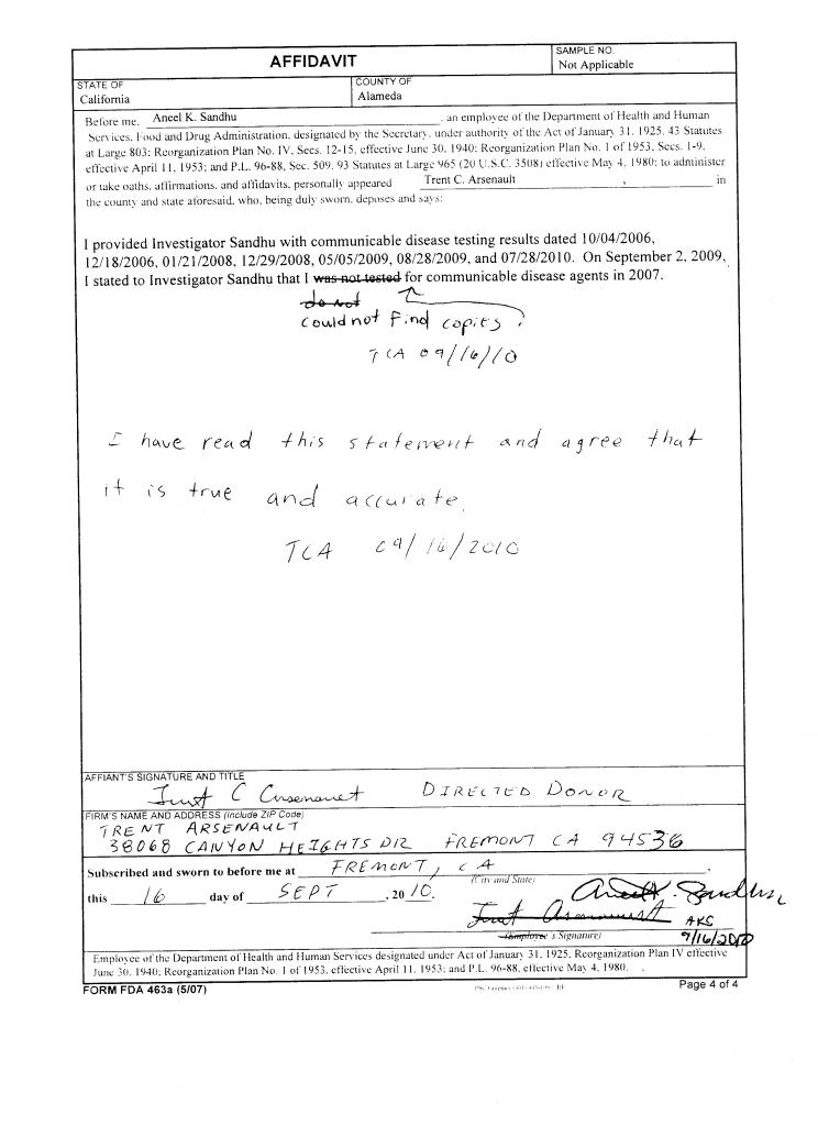 Form FDA 463a Signed Affadavit - 16-Sep-2010 - Page 4 of 4