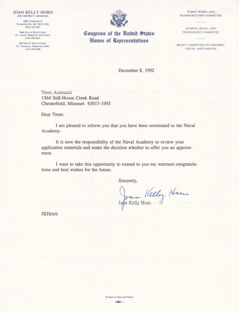 Nomation from Congresswoman Joan Kelly Horn