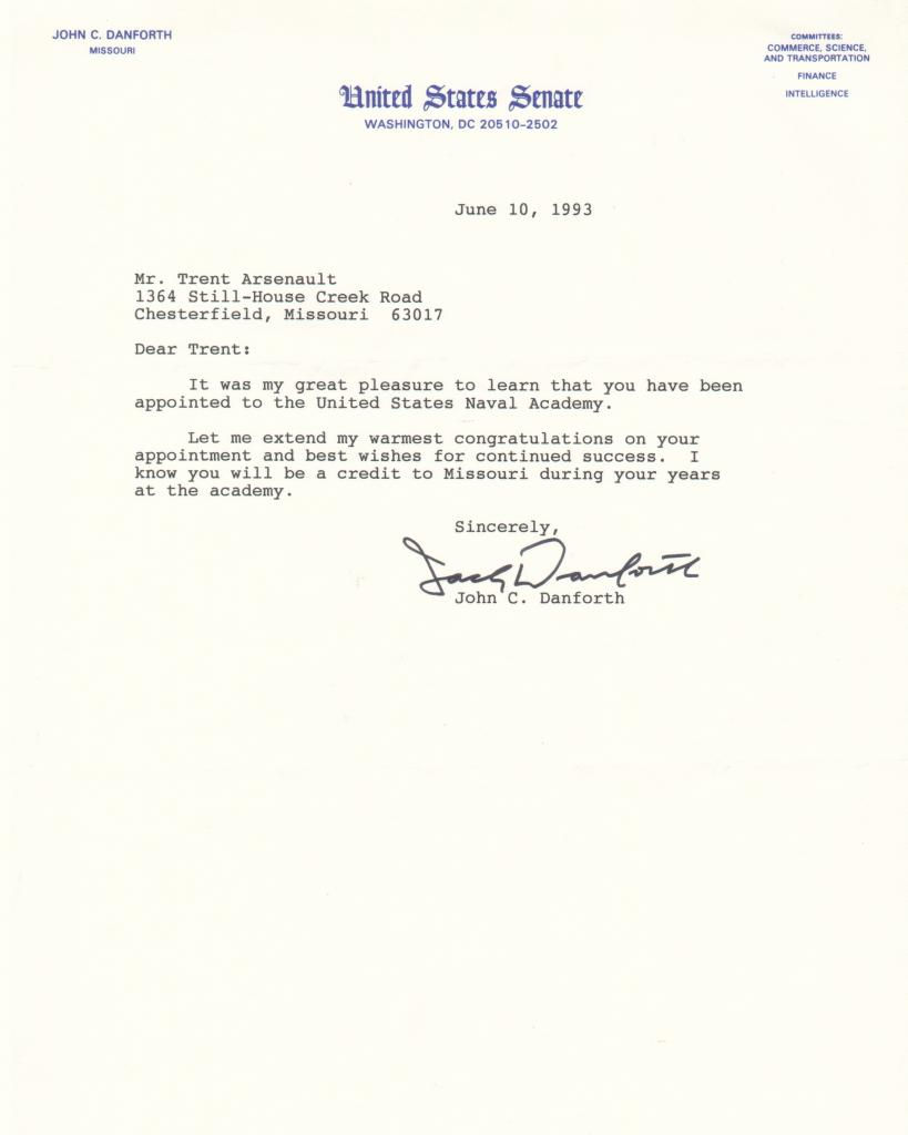 US Senate Nomation from Senator Jack Danforth